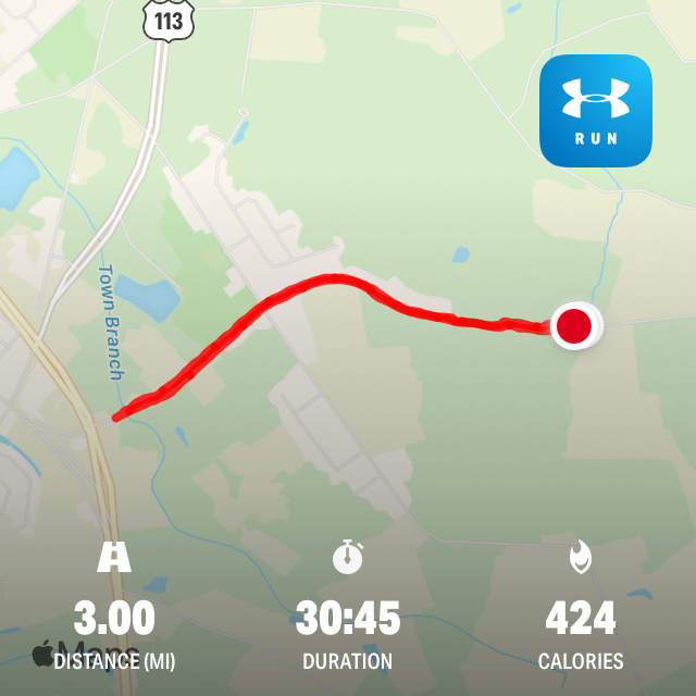 3 Miles A Day for 30 Days - Day 3 - Map on my running route.