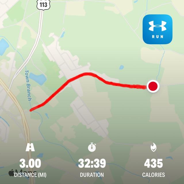 screen shots from Map My Running running app. Day 1