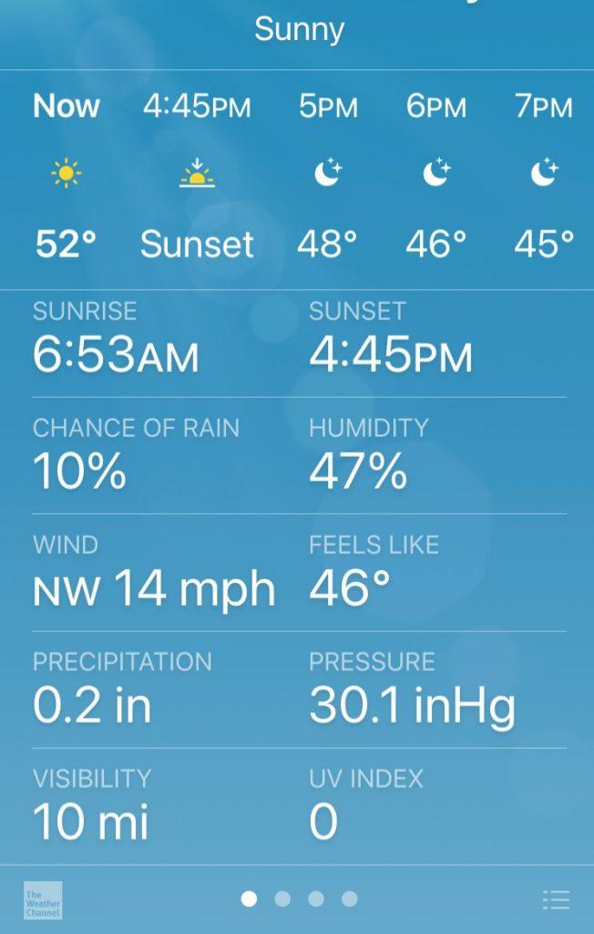 weather forecast running