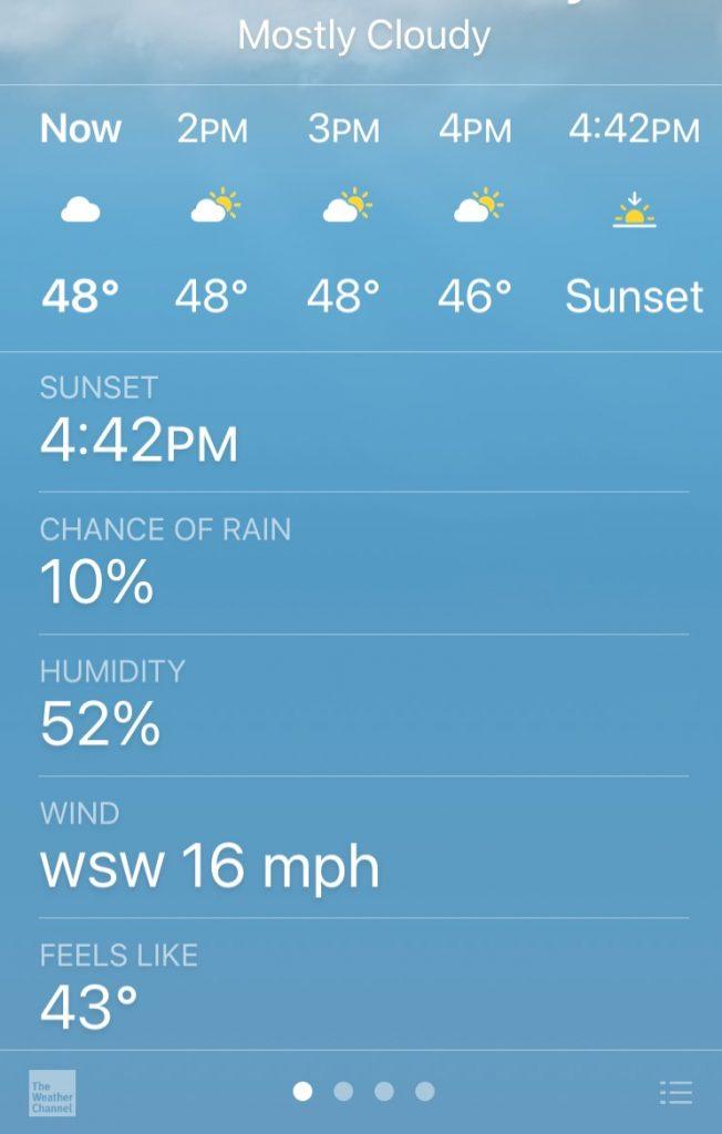 outside temp weather run