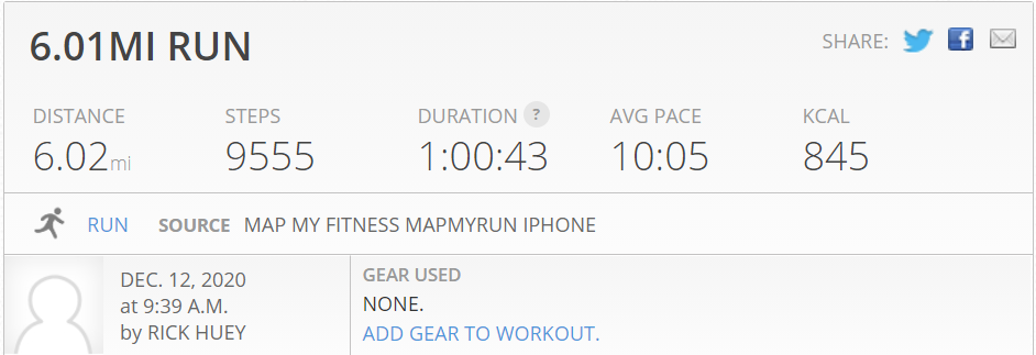 6 miles run today was warmer than expected
