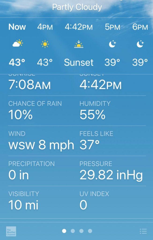 weather channel outside temp run data